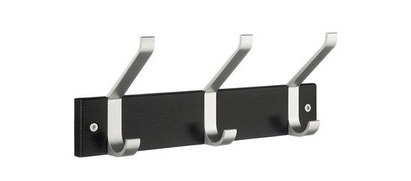 Smedbo Garderobenhaken Holz/Aluminium 3-Fach schwarz BB1073