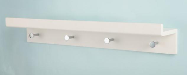 bhp Wandgarderobe weiß mit 4 Haken silber und Ablage 12mm MDF 600x115x100mm