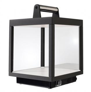 Deko Light Lacertae moderne Akku Tischleuchte Laterne für Außen dunkelgrau LED inkl. USB Powerbank