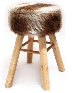 Barhocker Holz mit Kurzhaar- Kunstfellbezug creme-braun runde Sitzfläche DH: 33x70cm