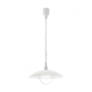EGLO ALVEZ Hängelampe E27 420mm Glas granille weiß klar höhenverstellbar