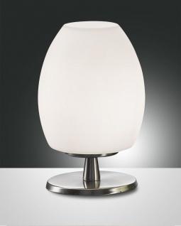 LED Tischleuchte nickel satiniert weiß Fabas Luce Rockford G9 220lm