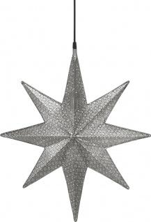 Weihnachtsstern aus Metall mit Löchern silber von PR Home Capella 60x51x12cm E27 3, 5m Textil Kabel