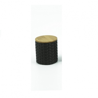 Vorratsdose aus Dolomit, Wabenmuster, Bambusdeckel, Silikonring, DH 10x11cm