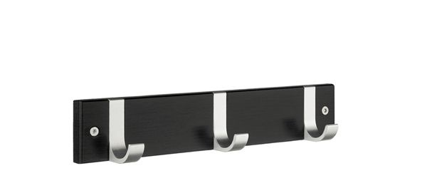 Smedbo Hakenleiste Holz/Aluminium 3 Fach schwarz BB1075