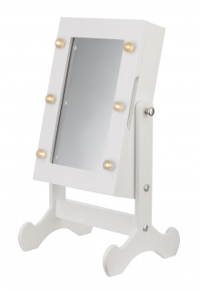 bhp Schmuckschrank, MDF weiß, 1 Türe mit Spiegel und 6 LED Leuchten