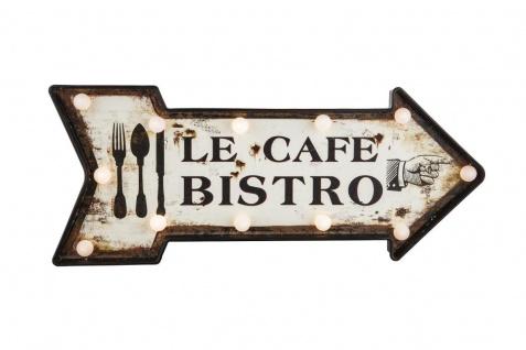 """bhp Leuchttafel """" Cafe Bistro"""", Pfeilform, MDF und Kunststoff, inkl. LED Leuchtmittel"""