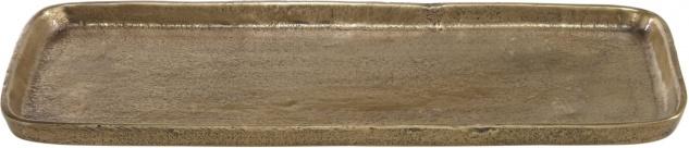 rustikales Tablett aus massivem Metall in messing gold farbend PR Home Miramar 41x17cm