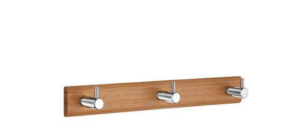 Smedbo Hakenleiste Holz/Edelstahl gebürstet 3-Fach Holz gebeitzt B1070M