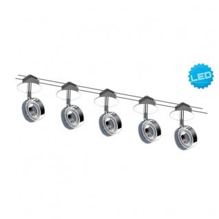 LED Seilsystem stahl blank Näve Tony Ring 2x5m 5 flg. 240lm