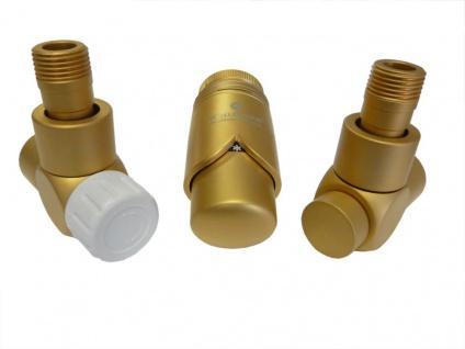 Schlösser Edelarmaturen Set Eckform 1/2 für Stahlrohr, matt goldfarben