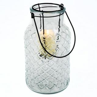 Windlicht, Glas/Metall, klar, mit Metallhenkel, mit Glaseinsatz für Teelicht, DH: 14, 5x26cm