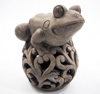 Dekofigur Frosch auf Kugel Zement grau gebürstet LBH 21, 7×19, 8×24, 6cm