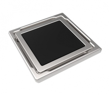 MERT Design Bodenablauf Flach mit 110 x 110 mm Spezial Glasabdeckung schwarz