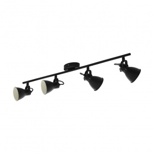EGLO SERAS 2 LED Retro Deckenstrahler schwarz 4x GU10 77x6, 5cm