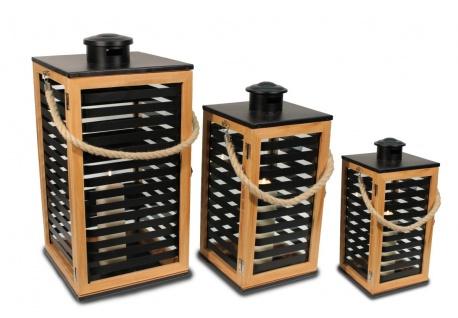 Holz Laterne hellbraun mit Lamellen und Metalldach schwarz 3er Set