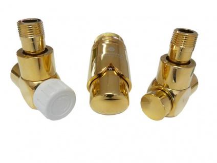 Schlösser Edelarmaturen Set Eckform 1/2 für Stahl Rohr, goldfarben