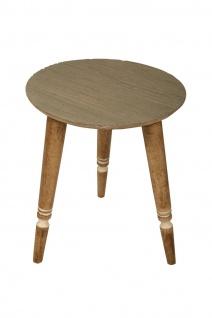bhp Beistelltisch aus Holz, Rund mit geschnitzter Tischplatte in grau mit Masserung