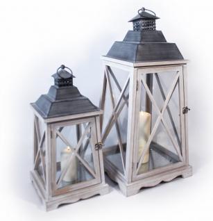 Holz Laterne konisch Metalldach Streben gekreuzt 2er Set 68, 5cm 47, 5cm