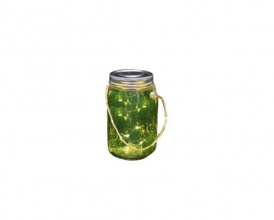 Deko Schraubglas mit Deckel silber Jute-Henkel und LED Lichterkette Batteriebetr. 9x17cm