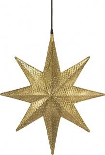 Weihnachtsstern aus Metall mit Löchern gold von PR Home Capella 60x51x12cm E27 3, 5m Textil Kabel