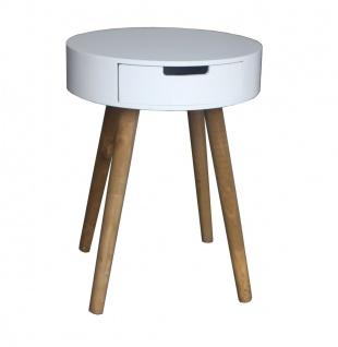 bhp Beistelltisch rund weiß mit 4 Holzbeinen Holzfüße natur 40x52cm mit 1 Schublade