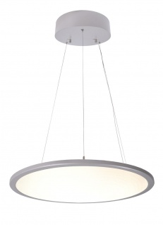 Deko Light LED Panel transparent rund Pendelleuchte silber 5100lm 3000K >80 Ra 150° Modern