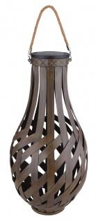 LED Solarlaterne aus Metall in Bambusoptik braun zum Hängen und Stellen H: 56cm von Globo