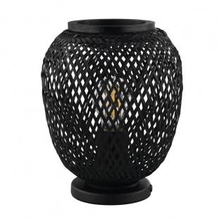 EGLO DEMBLEBY 1 Korbgeflecht Tischleuchte schwarz E27 20x25cm mit Kabelschalter
