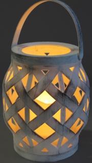 Windlicht aus Kunststoff mit LED Kerze flackernd 3xAAA nicht inkl. 16cm