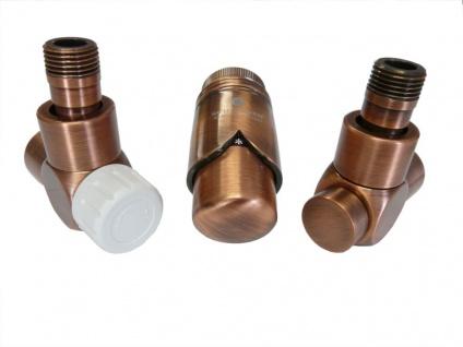 Schlösser Edelarmaturen Set Eckform 1/2 für Stahlrohr, antik Kupfer