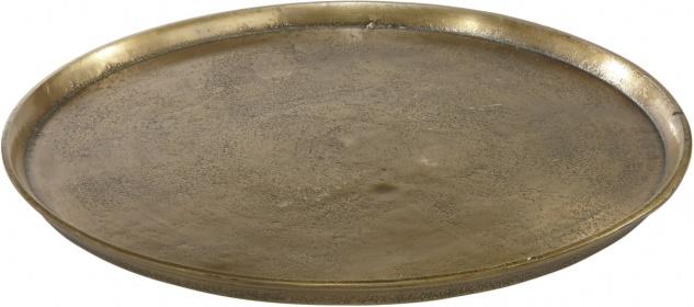 rustikales Tablett aus massivem Metall in messing gold farbend PR Home Miramar 30cm