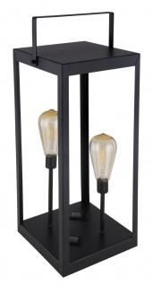 LED Solar Laterne mit 2x Edison Leuchtmittel schwarz amber LBH 20x20x53cm von Globo
