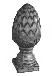 Außendekoration Artischocke auf Sockel L Terrakotta grau gebürstet, 14x33cm