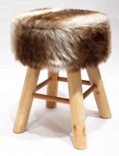 Hocker Holz mit Langhaar- Kunstfellbezug creme-braun runde Sitzfläche DH: 30x42cm