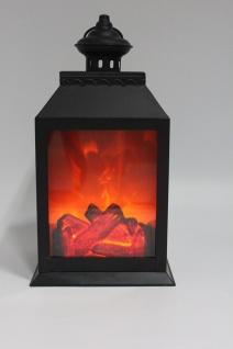 bhp Deko LED Laterne schwarz inkl. Timer im Kamin Design