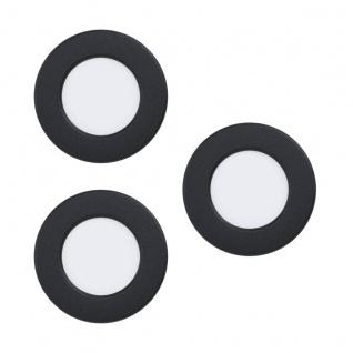 EGLO FUEVA 5 LED Einbauleuchte schwarz 3er Set rund 86mm 900lm 3000K