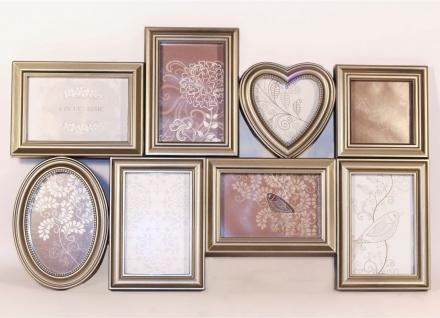Bilderrahmen aus Kunststoff für 8 Bilder antik silber 60x39x3cm