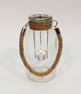 Windlicht Glas klar mit Jute Henkel für Teelichter 10x20cm