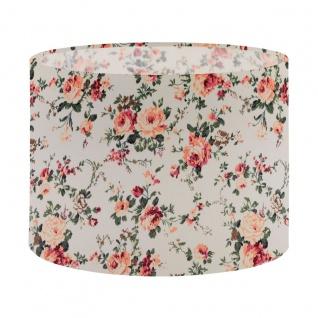 EGLO 1+1 VINTAGE Textil Schirm E27, E14 weiss mit Blumendekor 250mm