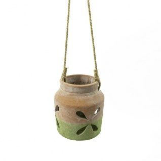 Windlicht, Ton, terracotta/grün, LBH: 11x13x15, 5cm