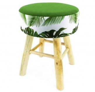 Hocker Holz mit Stoffbezug Jungledesign runde Sitzfläche 30x30x41cm