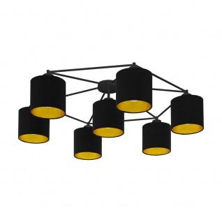 EGLO STAITI Deckenleuchte Textil schwarz, gold 7xE27