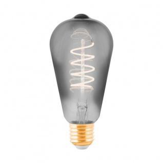 EGLO LED Leuchtmittel E27 ST64 4W 100lm 2000K 300° schwarz-transparent dimmbar 64x140mm