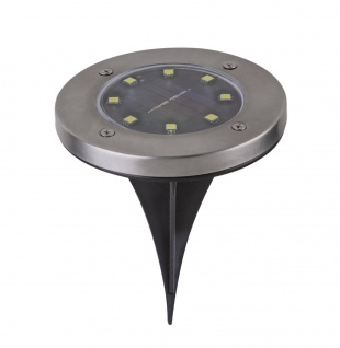 LED Solarlampe Edelstahl Bodeneinbauleuchte 118mm rund 2er Set von Globo