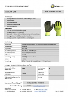 Artus Arbeitshandschuhe Montage-Strickhandschuh 15 Gauge, Nitrilschaum Artus Maximus Grip 12er Pack, Schutzhandschuh EN388:2019 - 4121X - EN407:2004 - X1XXXX, Größe 10 / L - Vorschau 3