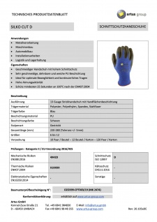 Artus Arbeitshandschuhe Montage-Strickhandschuh 13 Gauge, Schnittschutzhandschuh PU Artus Silko Cut D, 10er Pack, Schutzhandschuh, EN388:2016 - 4X42D - EN407:2004 - X1XXXX, Größe 11 / XL - Vorschau 3