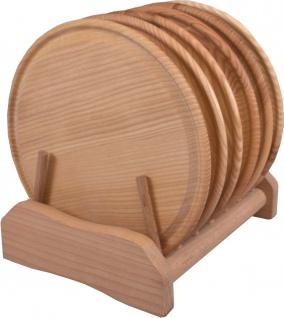 Tellergarnitur rund 7 - teilig, 24 cm, Aus Eschenholz, natürlich geölt und mit Saftrille