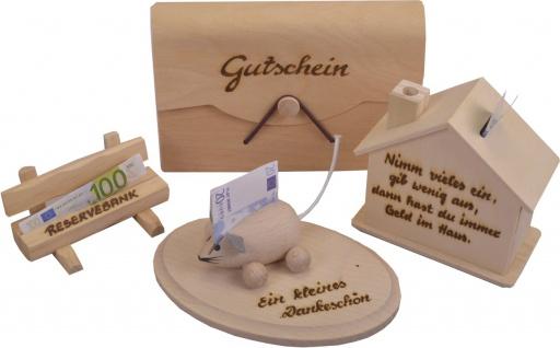 Geld/Gutschein-SET (4-tlg.) aus Holz