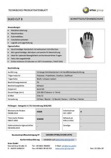 Artus Arbeitshandschuhe Montage-Strickhandschuh 13 Gauge, Schnittschutzhandschuh PU Artus Silko Cut B, 10er Pack, Schutzhandschuh EN388:2016 - 4342B - EN407:2004 - X1XXXX, Größe 9 / M - Vorschau 3